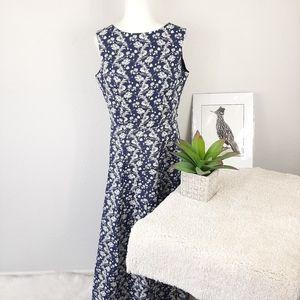 Vintage Laura Ashley 80s Blue Floral Maxi Dress 12